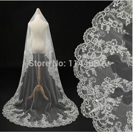 Wholesale Cheap Bridal Veils Ivory Beaded - Cheap Ivory Beaded Crystals Lace Bridal Veils Fashion 2015 New 3 M Long Wedding Veils Under 10$