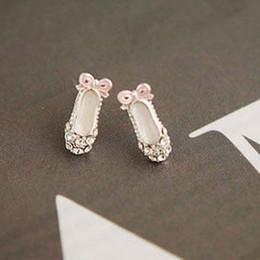 Wholesale Women Bowknot Earrings - 10Pairs lot Women Girls Fashion Jewelry Luxury Delicate Bowknot Rhinestone Ballet Shoes Ear Stud Earrings 2X MHM251