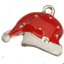 Sombrero haciendo manualidades online-DIY Navidad Caps Charms Collares Artesanías Hecho A Mano Fabricación de Pulseras Colgante de Santa Claus Sombreros de Plata Epoxi Metal Resultados de la Joyería 18mm 50 unids