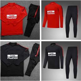 Wholesale F Train - 2017 2018 Tracksuit GRIEZMANN Men 's F TORRES KOKE Tracksuit 17  18 jacket Training suit kits Jerseys Red Black Ropa de fútbol kit