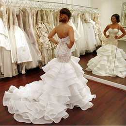 Wholesale Drop Waist Wedding Dress Mermaid - Real Pictures Wedding Dresses 2016 Plus Size Mermaid Bridal Gown Sweetheart Lace Appliques Dropped Waist Covered Buttons Organza Court Train