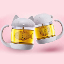 Wholesale Cup Inserts - Novelty Office tea Filter Cups Anime cat monkey shape cup with infuser glass tea filter mug Office Tea Coffe glass jar teapot