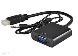 HDMI VGA Adaptörü + 3.5mm AUX Ses Kablosu HDTV Video Dönüştürücü Adaptör PC Laptop Xbox Dijital Kamera için nereden ses video kablosu 3,5 mm tedarikçiler