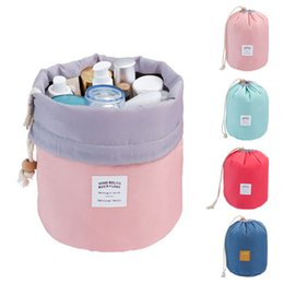 Wholesale Stockings For Ladies - High Capacity Barrel Shaped Travel Women Brand Cosmetic Bags Nylon Organizer Toiletry Makeup Bags For Women Ladies Box Neceser