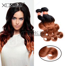Wholesale Cheap Red Human Hair Extensions - 2Pcs lot Brazilian Virgin Hair Body Wave 7A Human Hair Bundles Weave Cheap 100 Unprocessed Virgin Body Wave Red Ombre Hair Extensions