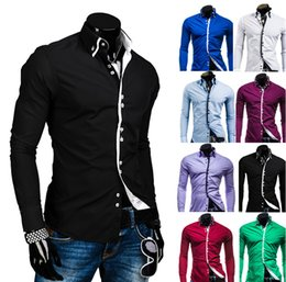 Wholesale Fashion Access - 2016 New Autumn&Spring Men's Fashion Double Collar Access Hit Color Leisure Square Buckle Long Sleeved Shirts A8692