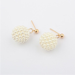Wholesale Small Pearl Gold Earrings - E302 Fashion South Korean Style all-match Full of Pearl Pinecone Balls Full of small Cones 18K Gold Plated Stud Earrings #2085