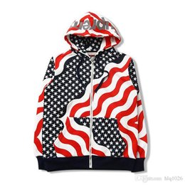 Wholesale American Flag Hoodies - EXO Kris Hoodies For Men Tide Brand Sup American Flag Star Hoodies Men New Fashion Long Sleeve Zipper Male Autumn Hoodies Free Shipping