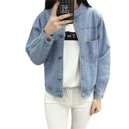 Wholesale denim short jackets wholesale - Wholesale- Women Long Sleeve Denim Jacket Vintage Loose Bomber Jeans Jackets Ladies Korean Style Cowboy Coat 2017 Spring Outwear Plus Size