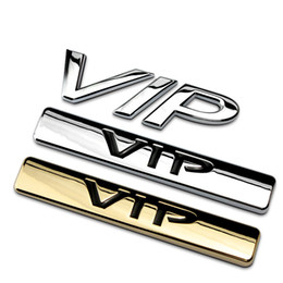 Wholesale vip stickers - Silver Gold VIP Chrome Metal Car Styling Emblem Badge 3D Car Sticker Refitting Decal Auto Exterior Logo Decoration For Car Bick Motor 1610