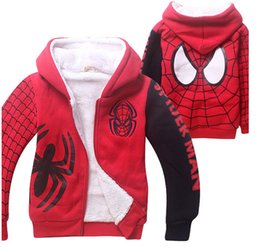 Wholesale 12 Decks - 1 Piece Lot Brand New Spider-Man Kids Winter Coat Jacket Cartoon Coral Velvet Double-Deck Children's Hoodies & Sweatshirts 2 color
