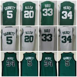 Wholesale Bird White - Throwback 5 Kevin Garnett Jersey Men's 20 Ray Allen 34 Paul Pierce 33 Larry Bird Cheap Basketball Jerseys Green College Shirts
