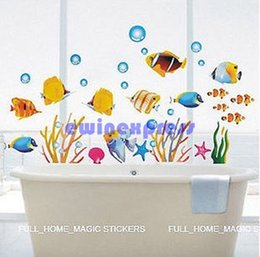 Wholesale Wall Art Decals Fish - DIY tropical fish wall stickers decal for kids home decor removable Baby nursery bathroom Walls art mural Vinyl decals stickers wallpaper