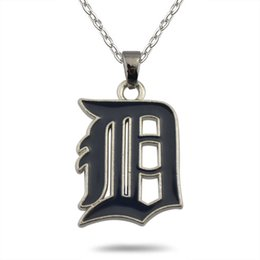 Wholesale Wholesale Team Logo Necklace - High Quality 10Pcs Lot Zinc Alloy Rhodium Plated Hand-made Casual Detroit Tigers Baseball Team Logo Pendant Necklace Jewelry