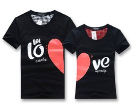 Wholesale Fashionable Shirts Cotton Women - Wholesale-Men women fashionable couple t shirt tops for 2015 lovers summer heart shape cotton casual clothes For Lover's Clothing
