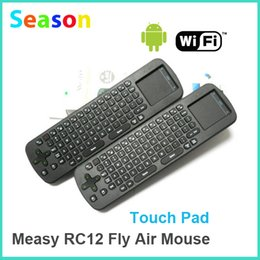 Wholesale Measy Rc12 Wireless Air Mouse - Wholesale-Measy RC12 Fly Air Mouse Keyboard 2.4GHz Wireless Touch Pad for TV Box or Tablet PC