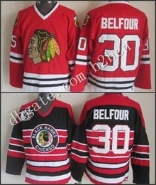 Wholesale Belfour Jersey - 2015 cheap Chicago Blackhawks Hockey Jerseys Stitched #30 Ed Belfour Throwback red Vintage Jersey 75th Anniversary Black Red