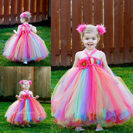 Wholesale Green Colored Wedding Dresses - Colorful Rainbow Flower Girls' Dresses Halter Neckline Ankle Length Colored Tulle Ball Gown Little Kids Baby Girls Pageant Dress Party Gowns