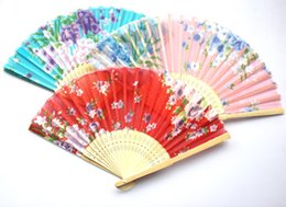 Wholesale Folding Hand Fans Cloth - 20 X Chinese Silk folding Bamboo Hand Fan Fans Art Handmade Flower Popular Gift