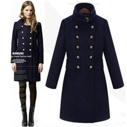 Wholesale Blend Coat Woman - Fashion Medium-Long Wool Blends Coat Abrigos Mujer Women Outerwear Double Breasted Trench Casacos Femininos