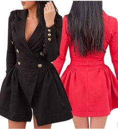 Wholesale Double Ruffled Shorts - 2017 Women Casual dress Windbreaker bodycon Dress Fashion Slim double breasted sexy short skirts Ladies club pullover bandage Outwear