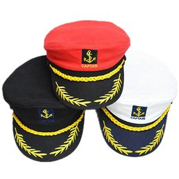 Wholesale Red Military Peaked Cap - Romania Style Unisex Peaked Skipper Sailors Navy Seafarers Captain Boating Cotton Hat Cap Adult Fancy Dress Free Shipping 1534