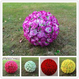 Wholesale Silk Rose Ball Bouquet - 20cm Wedding Silk Rose Ball with leaves Decoration Rattan Cheap Artificial Bridal Flower Wedding Favors Party Decoration love008