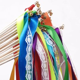Wholesale Angels Ribbons - Ribbon Fairy Sticks With Small Bells Angel Wands Multi Colors For Wedding Decor Twirling Streamers New Arrival 1 67mk B