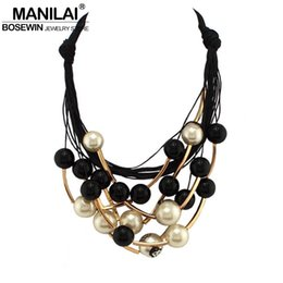 Wholesale Golden Beads Tube - Wholesale- MANILAI Maxi Jewelry imitation Pearl Necklace Black Rope Bead Golden Tube Statement Collar Choker Necklace For Women Collier