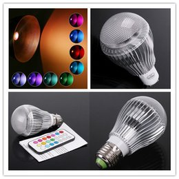 Wholesale E27 Rgb Led Lamp 9w - 9W AC 100-240V B22 E27 GU10 LED RGB Light Bulb Colorful Changing Flash Table Lamp + Remote Control Indoor Lamp Colorful Lighting