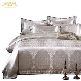 Wholesale Gray Satin Comforter - ROMORUS 4 6 pcs Silver Grey Luxury Duvet Cover Set 100% Cotton High Quality Satin Jacquard King Queen Size Wedding Bedding Sets