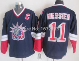 Wholesale Shirt Mens Cotton Polyester - CHEAP NEW MENS NHL NEW YORK RANGERS 1998 MARK MESSIER LIBERTY NAVY BLUE ALTERNATE THROWBACK CCM STITCHED HOCKEY JERSEYS SHIRTS