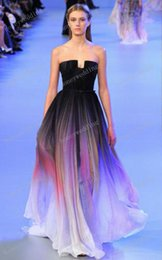 Wholesale Dress Line Floor Lenght - 2015 Elie saab Backless Evening Dresses Black Colorful Dyed fabric Chiffon Pleated Floor Lenght Cheap Formal Prom Party Runaway Dress