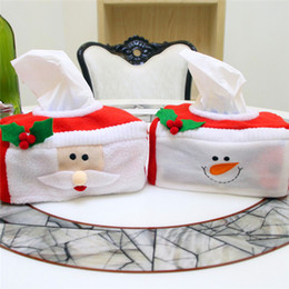 Wholesale Tissue Box Santa Claus - New Christmas Ornaments Christmas Style Santa Claus Tissue Box Cover Holder Home Decoration Creative Napkin Holder for Paper