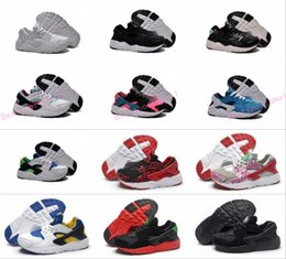 Wholesale Snakers Shoes - 2017 New Kids Huarache Snakers Shoes For Boys Grils Authentic White Red Black Children's Trainers Kids Shoes Sport Running Shoes Size 2