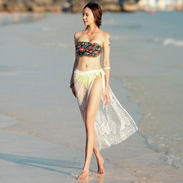 Wholesale Black Skirt Cover Up - Women Embroidery Lace Floral Crochet Maxi Skirt Beach Swimwear bathing suit cover ups Saia Longa Femininas swim suit cover up