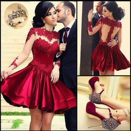 Wholesale Evening Mini - 2015 Perfect Illusion Neckine Prom Dresses Red Bodice High Collar Sheer Long Sleeves Evening Ball Gowns Short Mini Party Prom Dress Newest
