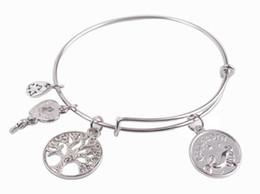 Wholesale Gemini Charms Wholesale - New arrive 5PCS Fashion bracelet Silver Tone Expandable Wire Gemini Capricorn Charm Bracelet Bangles for sale