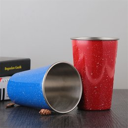 Wholesale Large Drink Glass - Black Red Blue 500ML 304 Stainless Steel Cups With Juice Beer Glass Portion Cups 16oz Tumbler Pint Metal Kitchen Bar Large Drink LZ0732