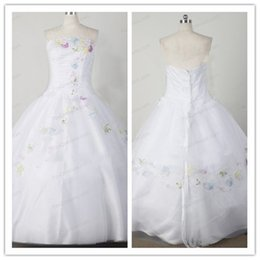 Wholesale Blue Strapless Flower Girl Dresses - 2015 new design white organza flower girl dresses A-line princess ball gown free shipping custom made high quality cheap price