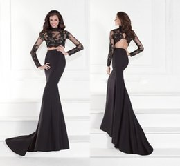 Wholesale Dress Tarikediz - TARIKEDIZ Designer Two Pieces Prom Dresses In Black Long Sleeve Evening Dress High Neck Applique Lace Tank Backless Mermaid Prom Gowns