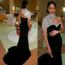 vestido de tirantes de lycra Rebajas Uno árabes Shouder sirena vestidos de noche largos cristales con cuentas piso superior Longitud formal del partido vestidos de baile
