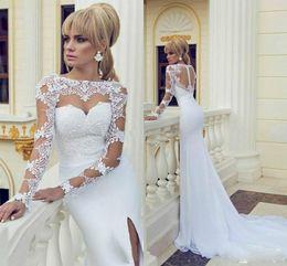 Wholesale Wedding Dresses Cutout Back - 2015 Sheer Wedding Dresses Bateau Neck Long Sleeve High Slit White Evening Dress See Through Cutouts Lace Top Mermaid Bridal Gowns Custom