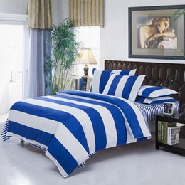 Wholesale White Queen Comforter - Wholesale-Modern Simple White Blue Stripe Bedding Sets Bedding Comforter Sets Duvet Covers, King Queen Full Size Bedspread Bedclothes