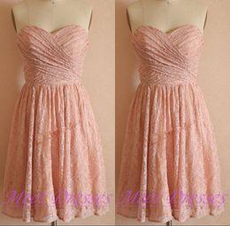 Wholesale Short Dresses For Bride Maids - Lace Bridesmaid Dress Simple Princess Short Prom Dress Blush Pink Bridesmaid Gowns For Weddings Maids Brides Dresses