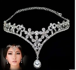 Wholesale Platinum White Hair - Fashion Silver Rhinestone Head Chain Headpiece Wedding Bridal Tiaras Jewelry for Wedding Hair Bands Hair Accessories