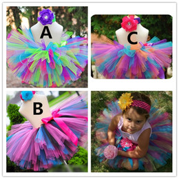Wholesale Kid Custome - 2016 Newest Girl Skirt Kids Rainbow Color Tutu Skirts hot Pettiskirt Tutu Handmade for custome Party Wedding K6550