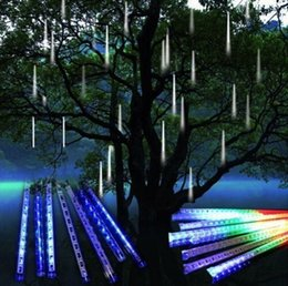 Wholesale Cascading Led Lights - Wholesale-8 tubes Rain Drop Icicle Snow Fall String LED Christmas tree decoration Cascading Meteor Light Decoration