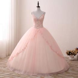 dulce verde 15 vestidos flores Rebajas Vestidos de quinceañera Pink Sweet 16 vestidos de bola correas de espagueti con cuello en V vestido largo formal de encaje apliques de tul de lujo vestido de lujo por 15 años