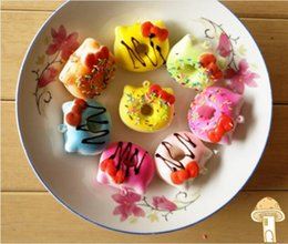 Wholesale Horror Movie Props - Cute KT Donut Chocolate Sweet Roll Slow Rising toy Simulation Food Decor Random Color Squishy Model Bread Donut Wedding photography props